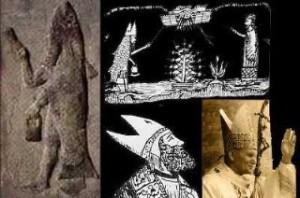 Foto ritraente alcune rappresentazioni del Dio Pesce